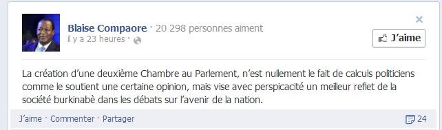 L'avis de Blaise Compaoré sur Facebook