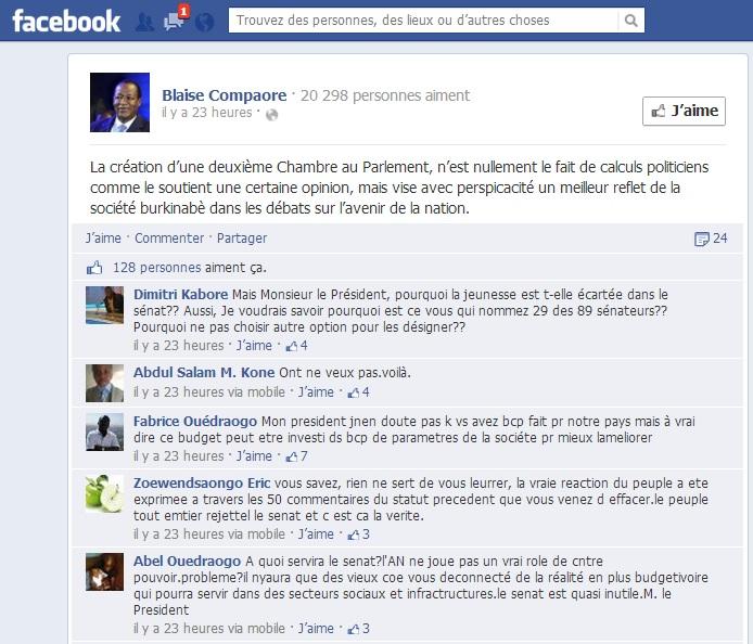 Quelques commentaires sur la page Facebook