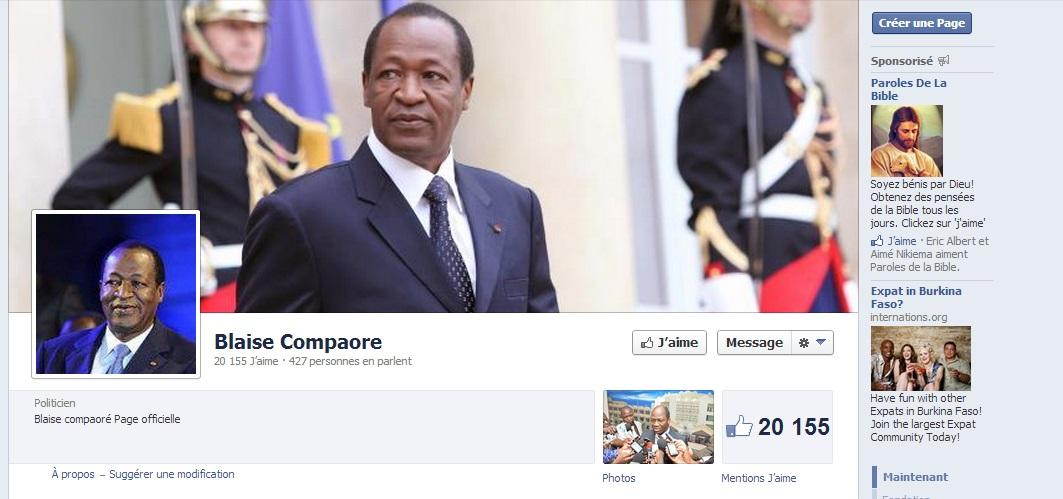 La page Facebook du Président du Faso Blaise Compaoré