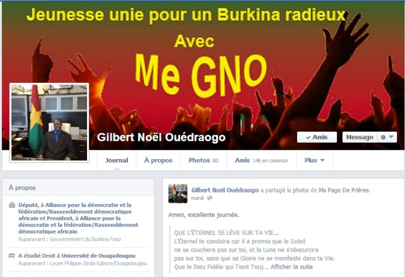 Le Profil Facebook de Gilbert N. Ouédraogo