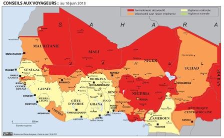 carte des zones à éviter dans le Sahel