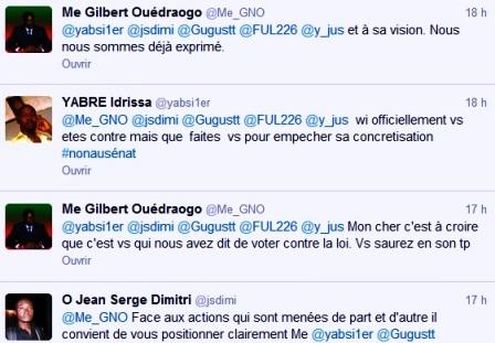 Capture d'échanges sur Twitter entre Me_GNO et des twittos.