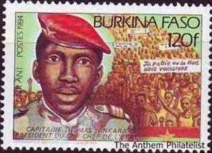 """Image de Sankara sur un timbre. Ph. facebook """"Archives d'Afrique""""."""
