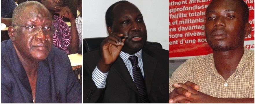 De g. à d., Tolé Sagnon du syndicat des travailleurs, Zéphirin Diabré de l'opposition et Patrice Zoehinga, président de l'Union générale des étudiants burkinabè (Ph : B24)