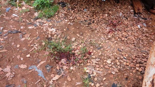 Les traces du sang écoulé des blessures de Souley (Ph : B24)