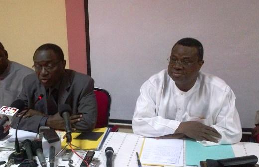 Les co-présidents du Front républicain, Me Hermann Yaméogo (g.) et Assimi Kouanda (Ph : B24)