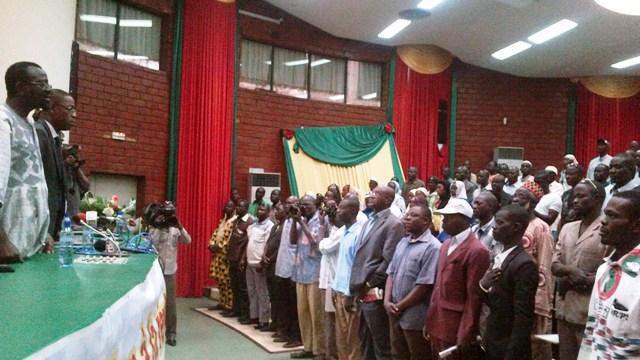 Me Sankara était face aux militants de l'UNIR/PS ce samedi (Ph : B24)