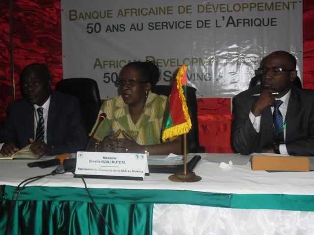 Selon représentante résidente de la BAD, Ginette NZAU-MUTETA, la BAD a investi plus 800 milliards de F CFA au Burkina en 50 ans (Ph : B24)