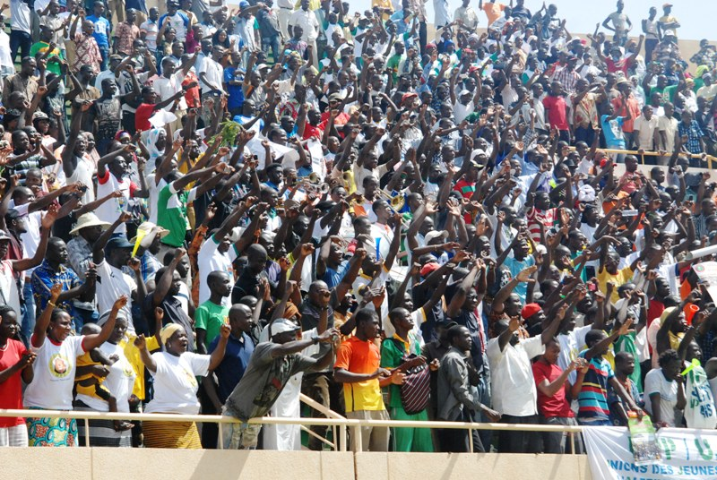 Les manifestants au Stade du 4-Août (Ph ; B24)