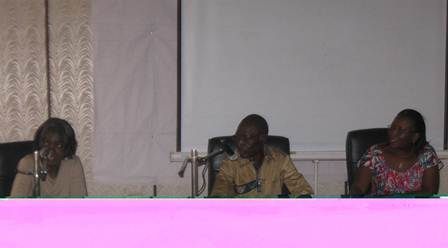 Mme Segda Zenabou de  Oxfam, Gansoré Mark (CPF) et Zongo Aline, Directrice d'Inades