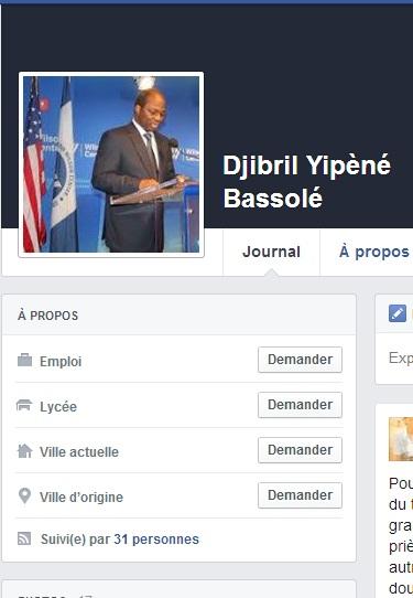 Capture d'écran du profil du compte