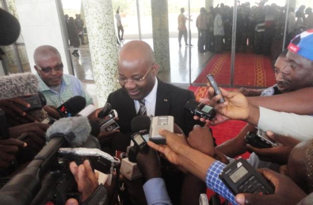 Jérôme Bougouma, ministre de l'administration territoriale, après le Conseil des ministres extraordinaire du Mardi 21 octobre 2014.