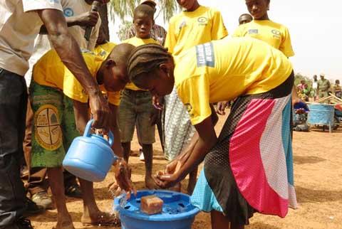 Demonstration de lavages de mains