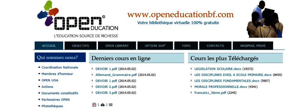 Aperçu de la plateforme OPEN Education.