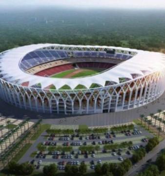 Images du futur stade Olympique d'Ebimpé, situé dans la commune d'Anyama, à 25km au Nord d'Abidjan dèrrière la commune d`Abobo