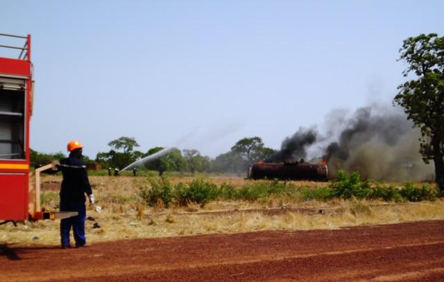 Simulation d'un incendie à la SONABHY © DR