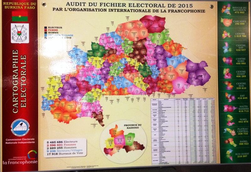 Une carte électorale du Burkina Faso a été présentée.