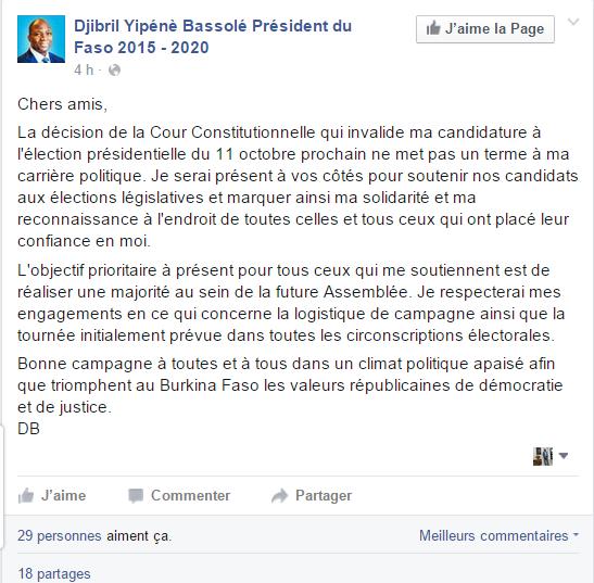 Capture d'écran du message de Bassolé sur sa pagne facebook