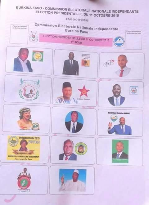 La préfiguration des différents candidats sur le bulletin unique de la présidentielle 2015 au Burkina Faso