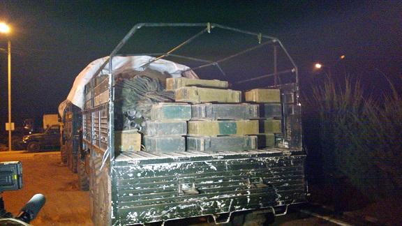Aperçu d'un camion contenant des munitions