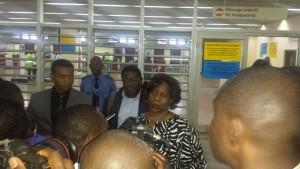 Arrivée de Mariam Sankara à l'Aéroport de Yaoudé, le mardi 2 février dernier.