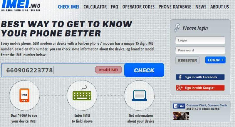 Aperçu du site IMEI.INFO
