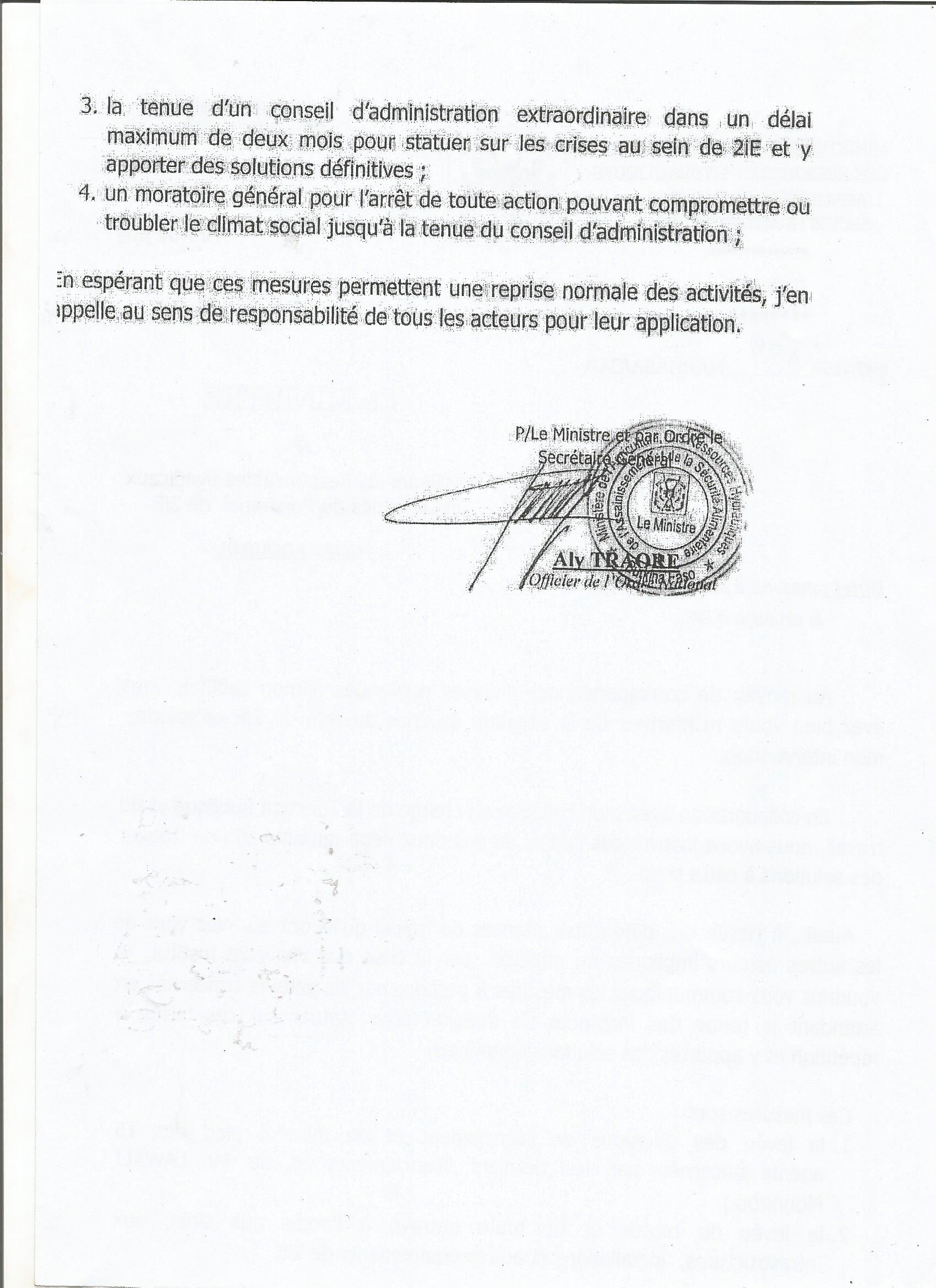 La suite de la lettre du ministre de l'agriculture des ressources hydrauliques, de l'assainissement et de la sécurité alimentaire aux responsables syndicaux et délégués personnel de 2iE.