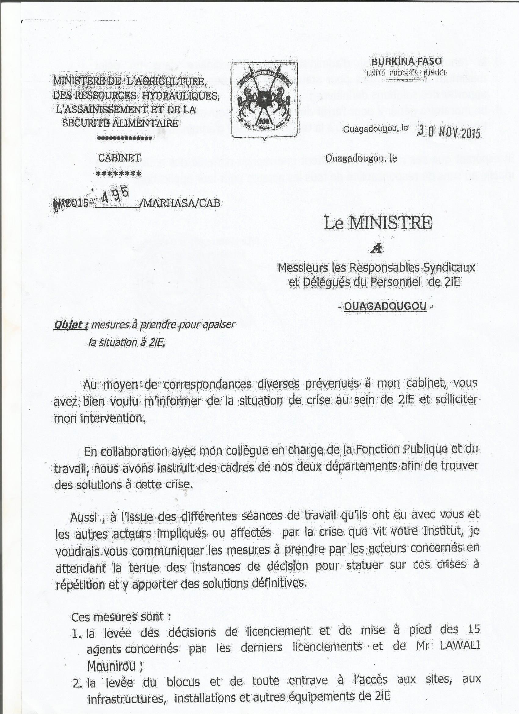 La lettre du ministre de l'agriculture des ressources hydrauliques, de l'assainissement et de la sécurité alimentaire aux responsables syndicaux et délégués personnel de 2iE.