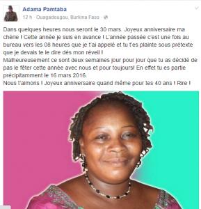 Adama Pamtaba a souhaité joyeux anniversaire à sa femme ce mercredi 30 mars 2016
