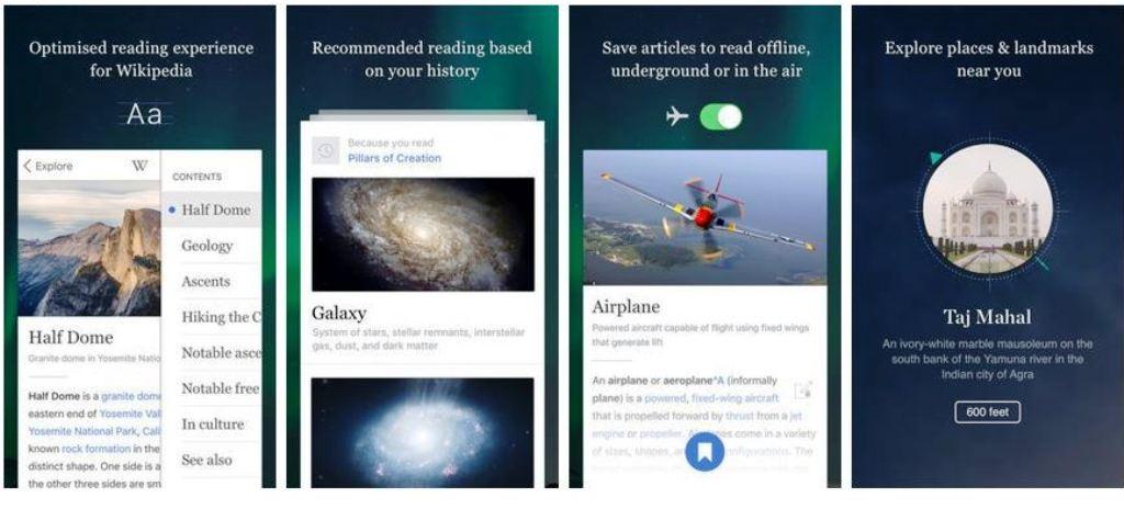 Aperçu de la nouvelle application de Wikipédia sur iOS.