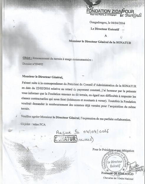 La lettre adressée par le directeur exécutif de la Fondation à la SONATUR