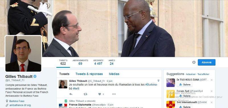 Capture Compte twitter de Giles Thibault France ambassadeur au Burkina