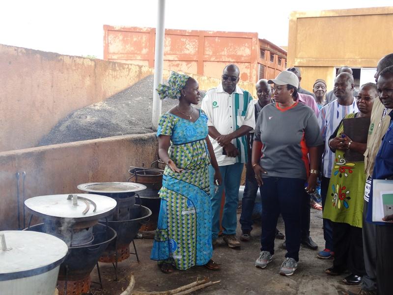 Nana Fatoumata Benon Yatassaye gouverneur de la région (casquette) visitant le centre des étuveuses de Mogtédo