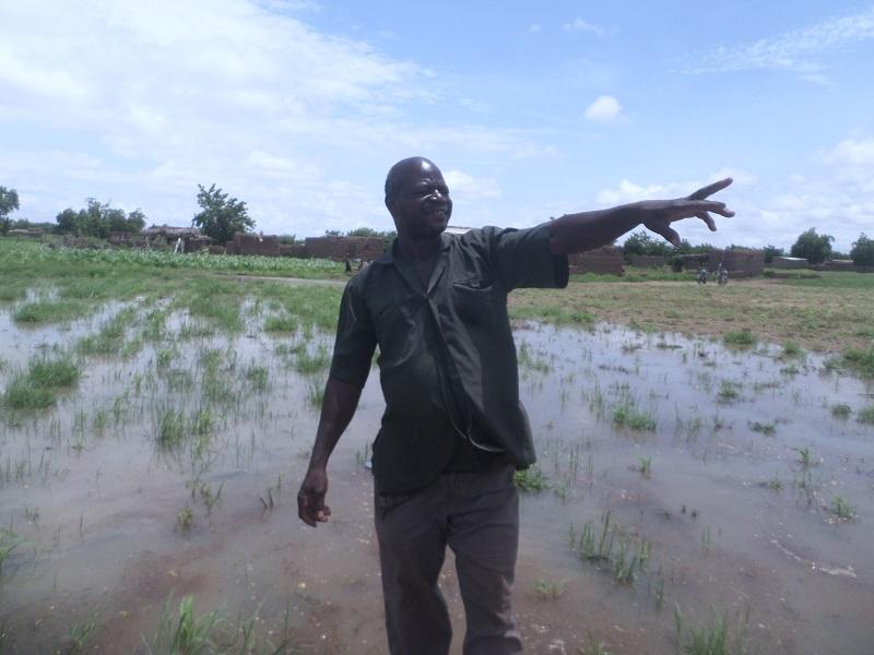 Le président CVD de Dara, Valentin Yacoro nous montrant désespérément son champ inondé