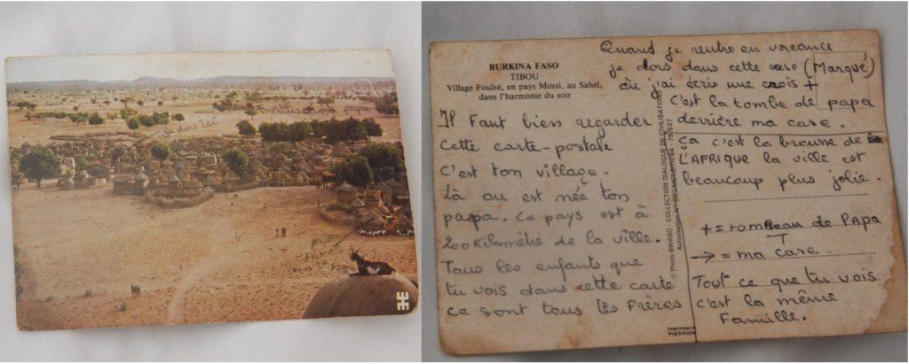 Sur cette carte postale de Pobé Mangoé, l'on peut voir la tombe du père de Bernadette Ouédraogo indiquée par son frère.