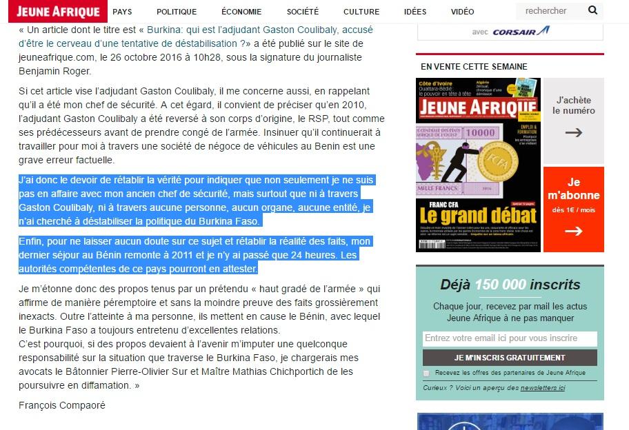 Capture d'écran de l'article sur Jeune Afrique