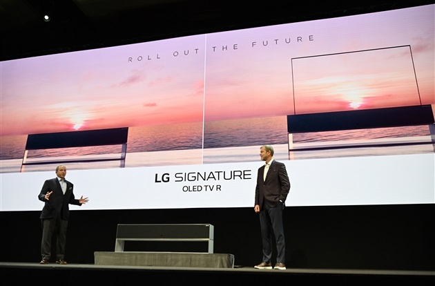 La télé enroulable de LG en roue libre